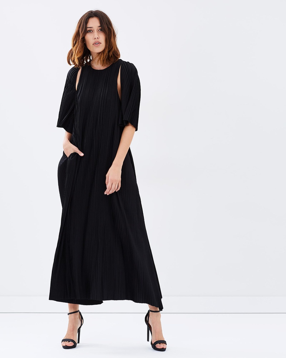 Friend of Audrey Black Pleated Cut-Out Maxi Dress