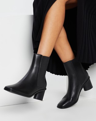 AERE Square Toe Leather Chelsea Boots - Boots (Black Leather)