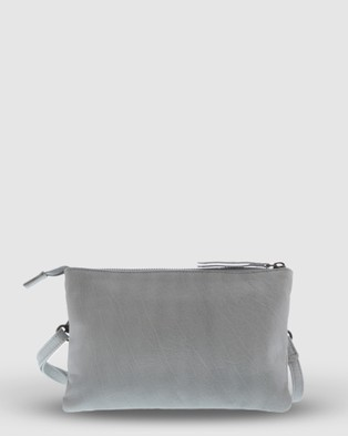 Cobb & Co Hervey Leather Double Pouch Crossbody - Handbags (Mist)