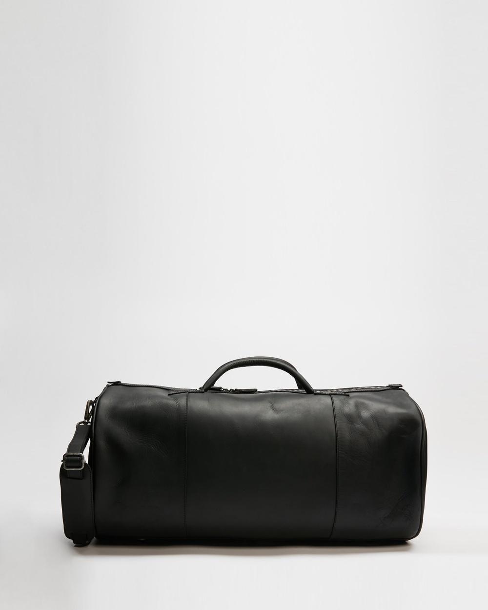 AERE Leather Weekender Duffle Bags Black