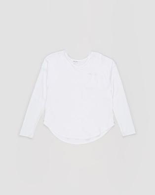 Decjuba Kids - Slouch Long Sleeve Tee   Teens - T-Shirts & Singlets (White) Slouch Long Sleeve Tee - Teens