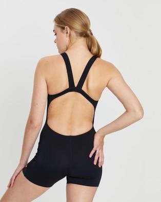 Speedo Endurance+ Leaderback Sport Leg Suit - One-Piece / Swimsuit (Black & White)