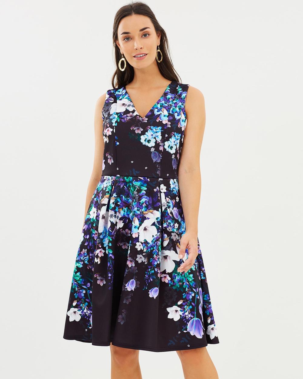 Wallis Floral Blossom Scuba Dress Printed Dresses Navy Blue Floral Blossom Scuba Dress