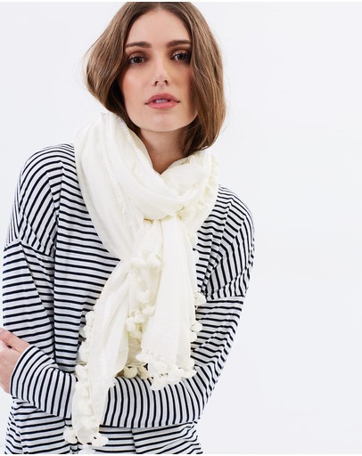 Cloth & Co. Hand Loomed Silk Cotton Scarf Winter White