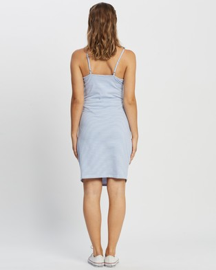 Cotton On Maternity Maternity Ruched Mini Dress - Dresses (Mini Molly Stripe White & Vintage Blue)