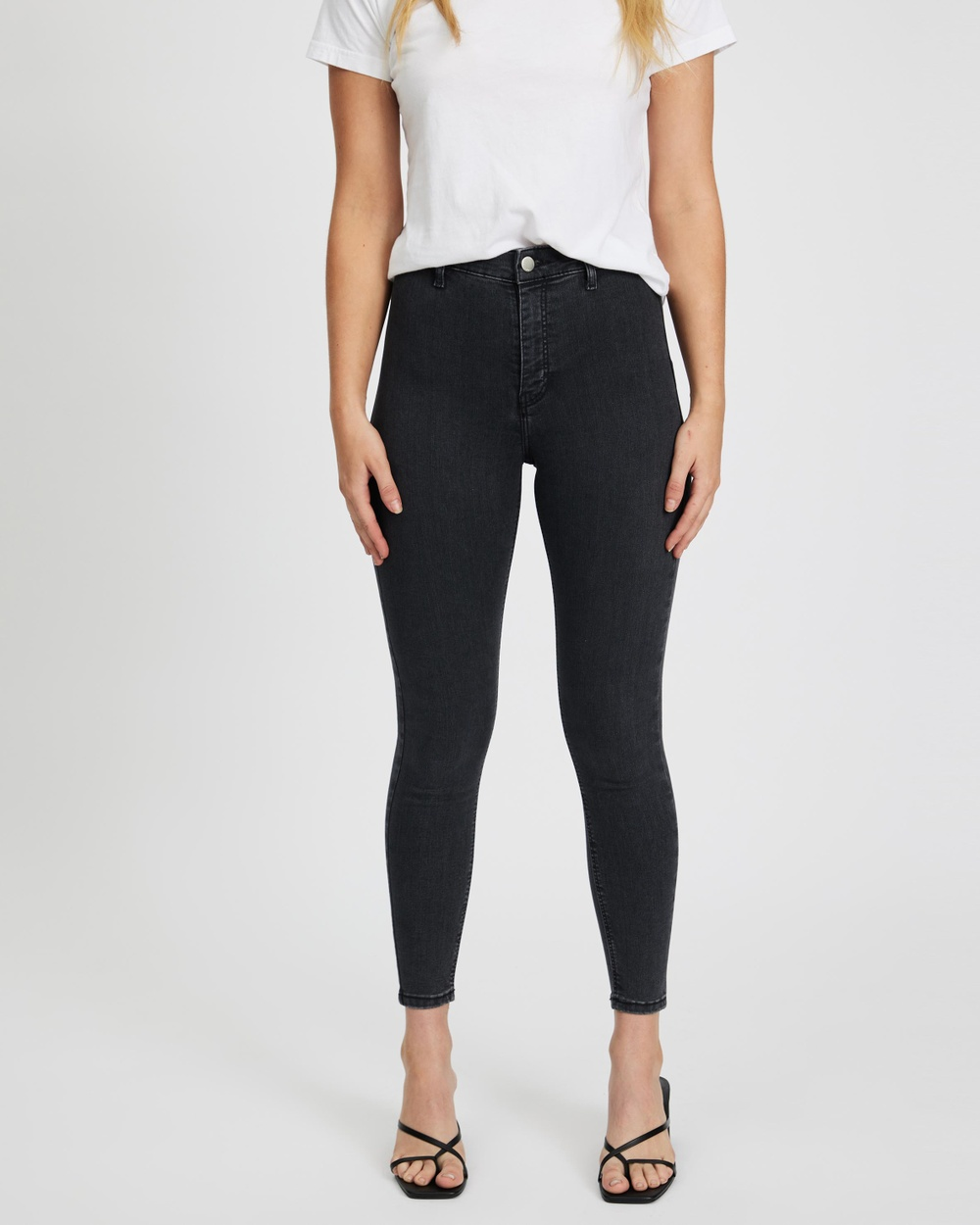 TOPSHOP Joni Jeans High-Waisted Washed Black Australia
