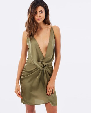 Lioness – In Your Dreams Silky Dress – Dresses (Olive)