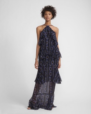 Cynthia Rowley – Printed Silk Swiss Dot Maxi Ruffle Dress