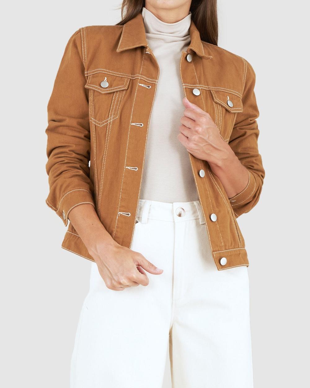 Amelius Alliance Drill Denim Jacket Coats & Jackets Brown Australia
