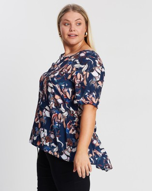 Advocado Plus Frill Side Top - Tops (Blue Hibiscus)