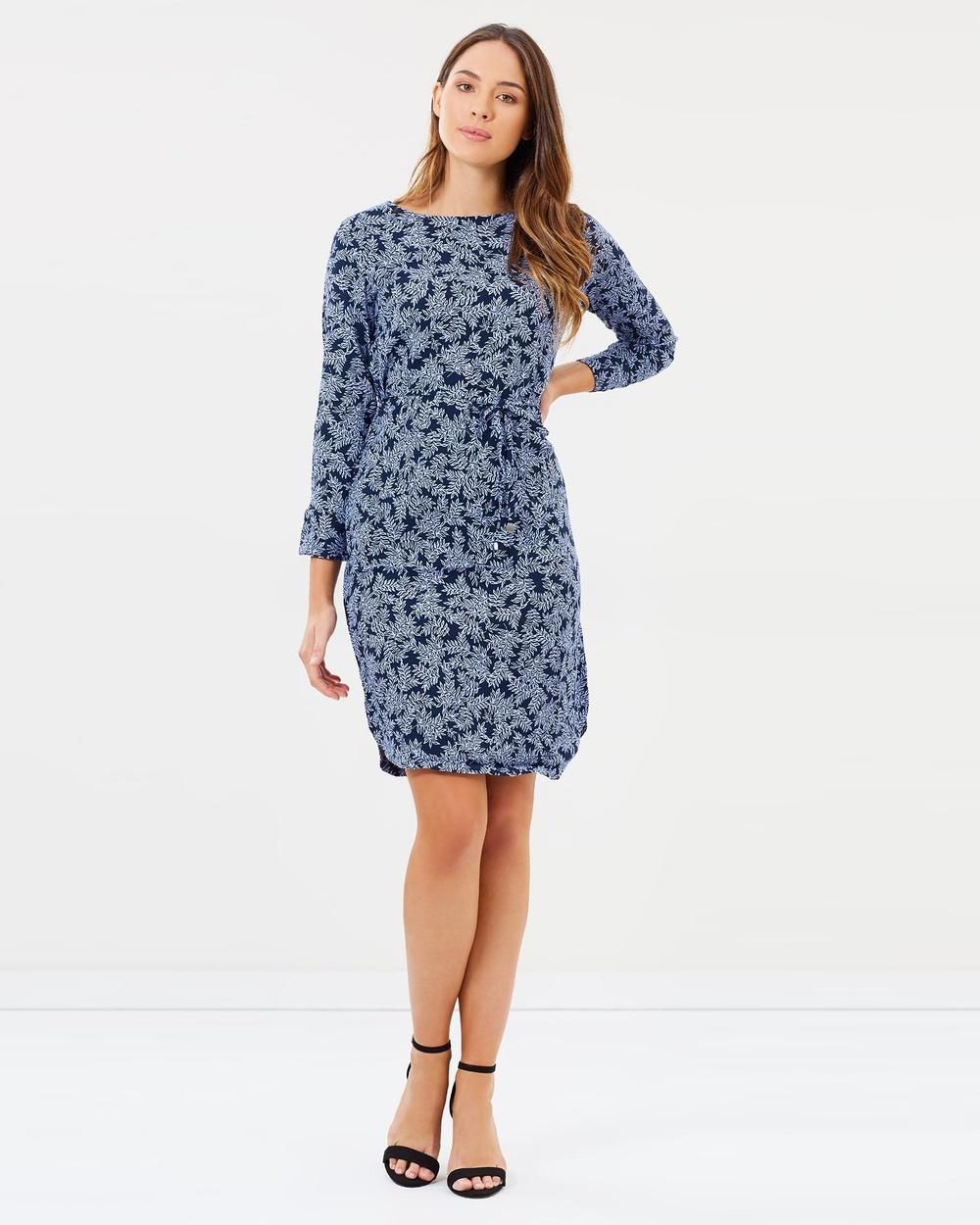 Sportscraft Dallas Print Dress Printed Dresses Mid Navy Blue Dallas Print Dress