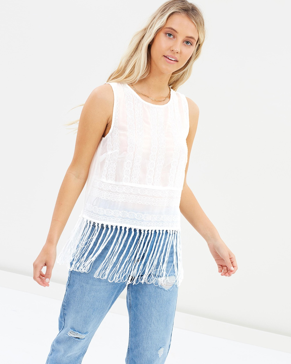 Miss Selfridge Embroidered Fringe Shell Top Cropped tops Cream Embroidered Fringe Shell Top