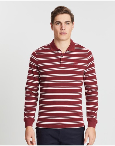 Kent And Curwen Double Striped Long Sleeve Polo Shirt Burgundy