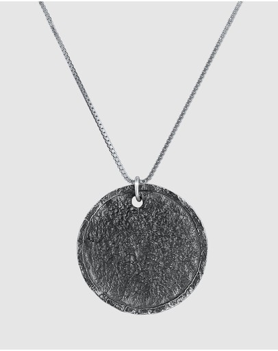 Kuzzoi Necklace Coin Vintage Antique In 925 Sterling Silver Oxidised