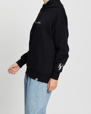 Majestic Script Chest Hoodie - Hoodies (Yankees Black)