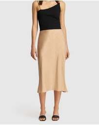 FRIEND of AUDREY - Paige Bias Midi Skirt