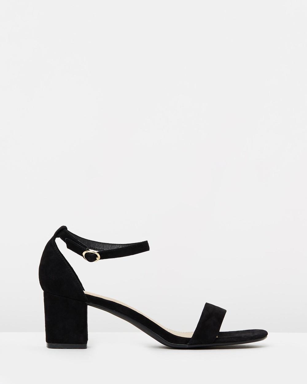 Atmos & Here ICONIC EXCLUSIVE Lauren Leather Block Heels Mid-low heels Black Suede ICONIC EXCLUSIVE Lauren Leather Block Heels