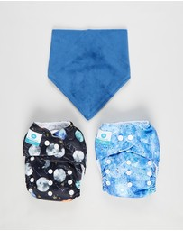 itti bitti - 2 x Bare Essentials One Size Fits Most Reusable Cloth Nappy + Bandana Bib
