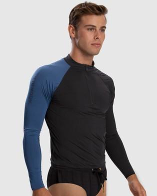 Aqua Blu Australia Back to Basics Rash Guard - Swimwear (Black)