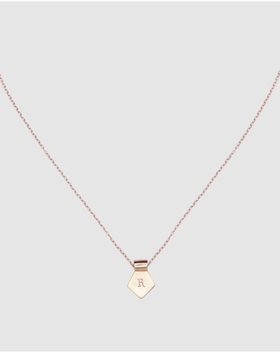 Ca Jewellery Letter R Pendant Necklace Rose Gold