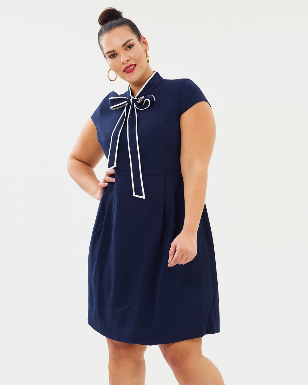 J.Crew Curvy Navy Lucky Crepe Blythe Dress