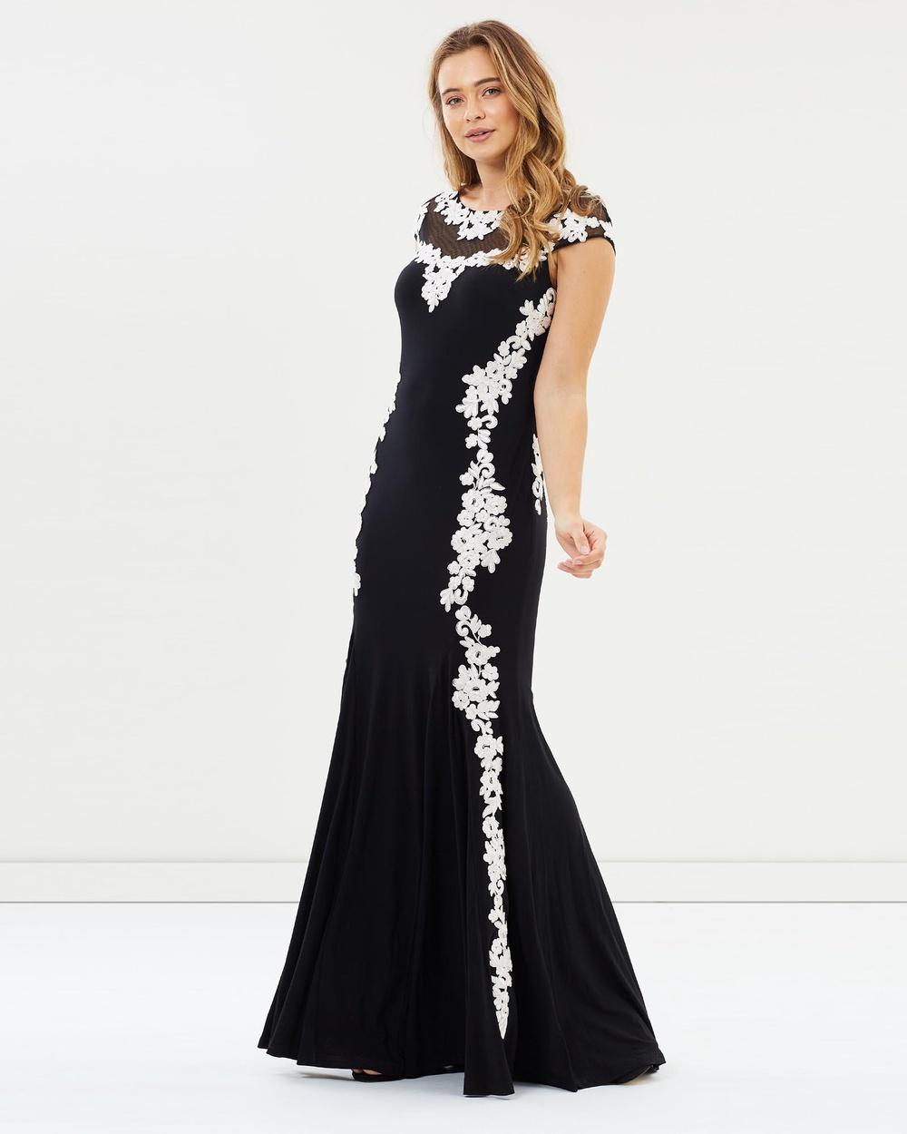 Montique Tiana Lace Jersey Dress Bridesmaid Dresses Black Tiana Lace Jersey Dress