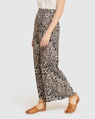 Oxford Kitty Wide Leg Animal Print Pants - Pants (Brown)