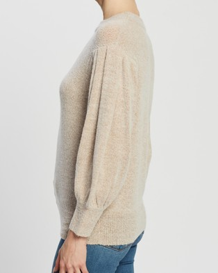 Atmos&Here Leila Puff Sleeve Knit Top - Jumpers & Cardigans (Oatmeal)