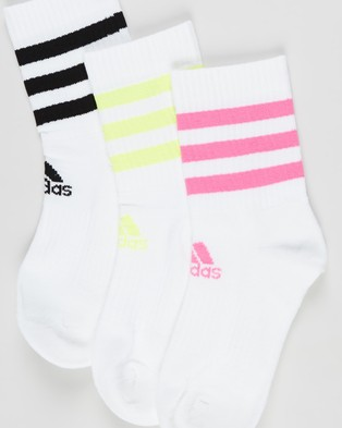 adidas Performance - 3 Pack Cushioned Crew Socks Unisex (White, Screaming Pink, Solar Yellow & Black) 3-Pack