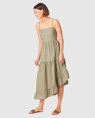 French Connection Asymmetrical Cotton Dress - Dresses (WASHED SAGE)