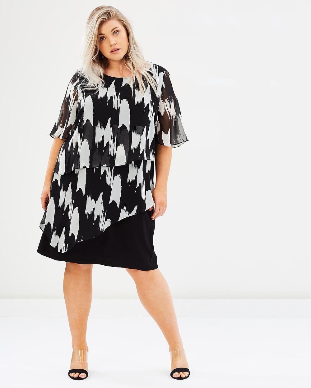 Advocado Plus Midnight Song Layered Dress Dresses Brushstroke Print Midnight Song Layered Dress