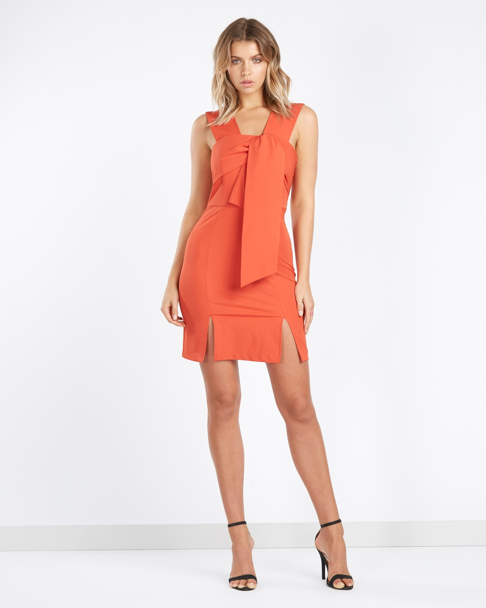 Tussah Kingston Tie Front Dress Bodycon Dresses Orange Kingston Tie-Front Dress