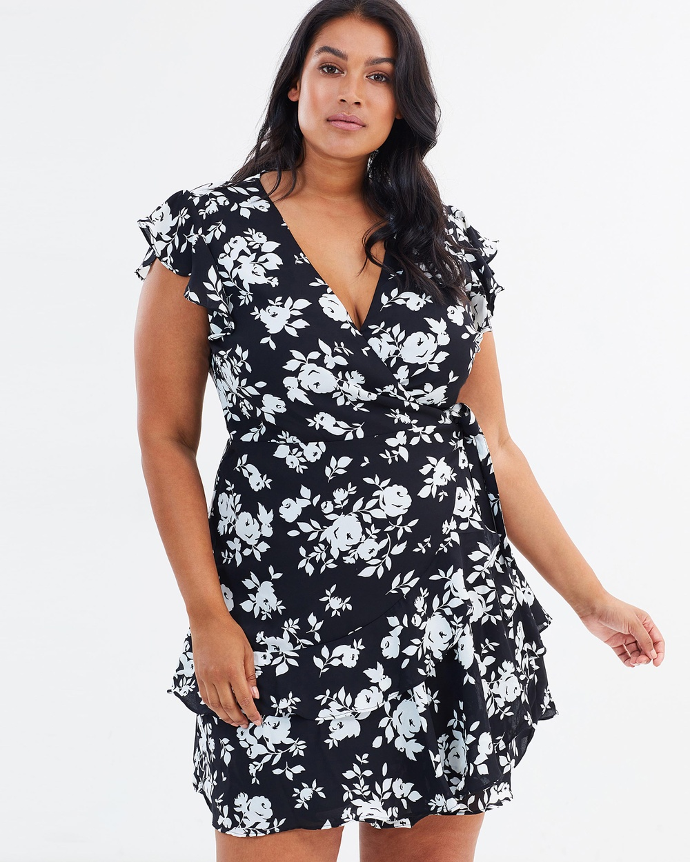 Atmos & Here Curvy ICONIC EXCLUSIVE Milly Wrap Dress Printed Dresses Black Base White Roses ICONIC EXCLUSIVE Milly Wrap Dress