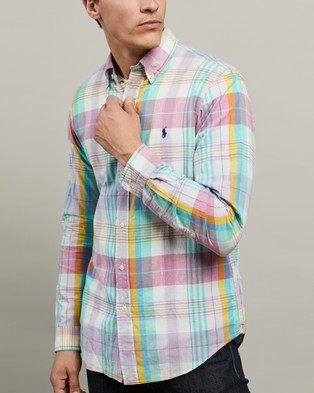 Polo Ralph Lauren ICONIC EXCLUSIVE   Long Sleeve Sport Shirt - Casual shirts (Light Pink & Aqua Multi)