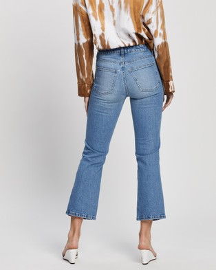 Love and Nostalgia Rodger Straight Crop Flare Distressed Jeans - Crop (Georgia Blues)