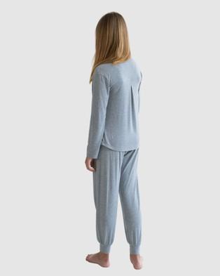 Love Haidee Lounge Pants & Long Sleeve Sleep Tee Set - Two-piece sets (Grey)