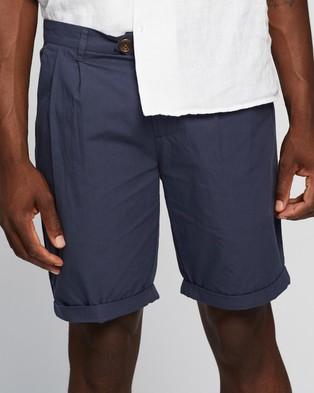AERE Poplin Pleat Shorts - Chino Shorts (Navy)