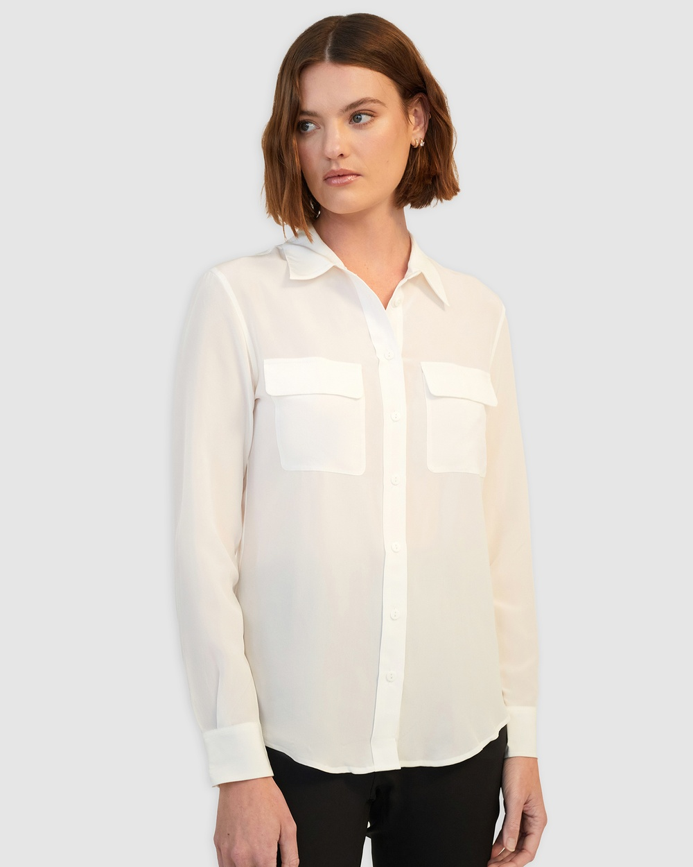 GINIA RTW Poppy Silk Shirt Tops Creme Poppy Silk Shirt