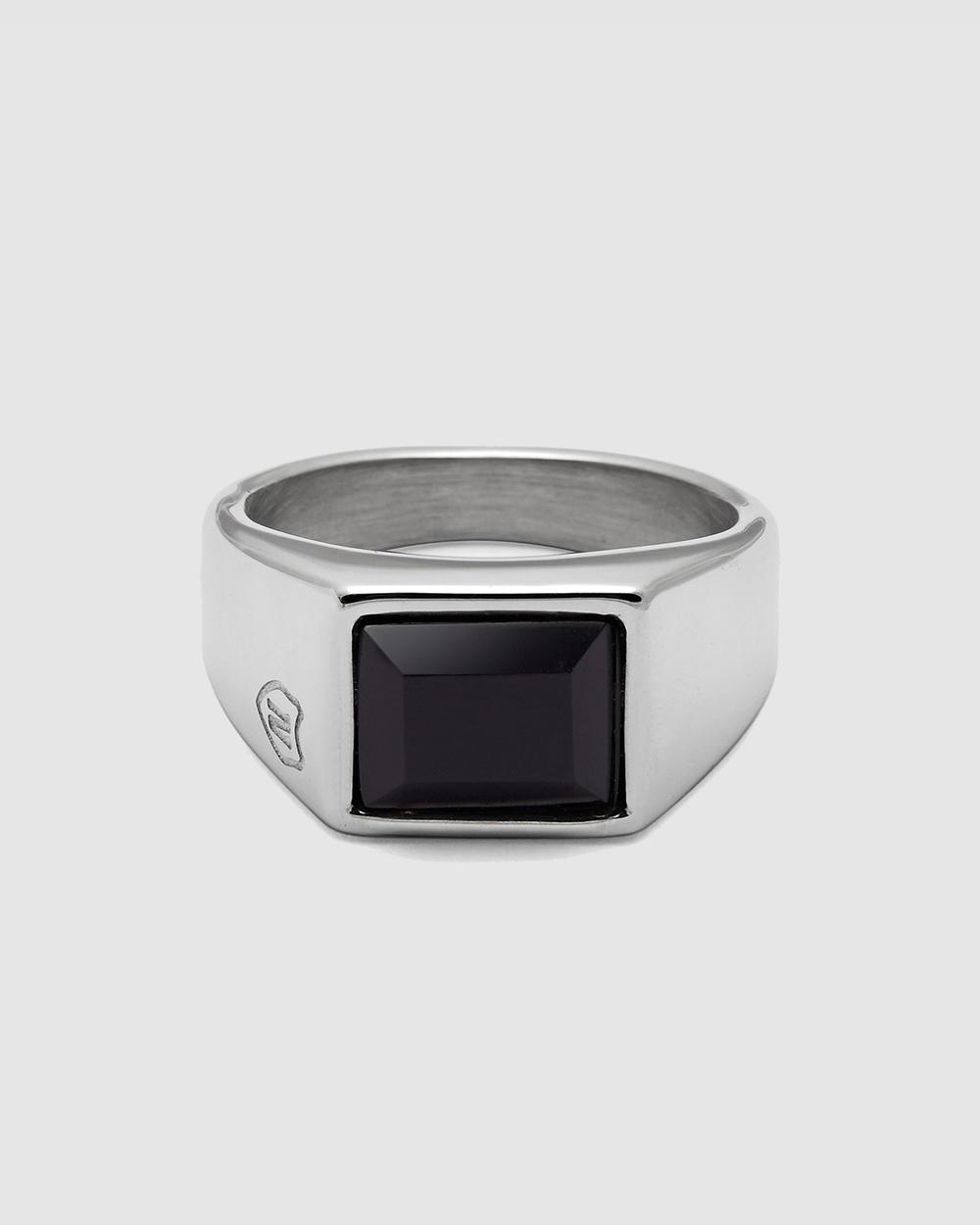Nialaya Jewellery Men's Squared Signet Ring Black