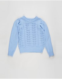 Free by Cotton On - Darla Puff Sleeve Knit Jumper - Kids- Teens