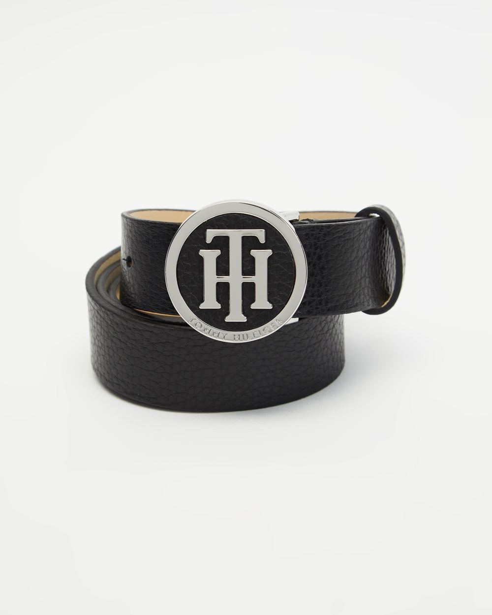 Tommy Hilfiger Statement Round Buckle Leather Belt Belts Black