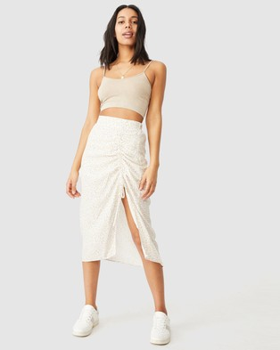 Cotton On Leah Ruched Side Midi Skirt - Skirts (Robyn Ditsy White)