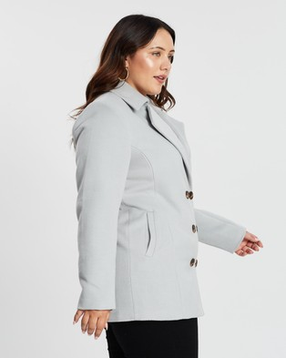 Atmos&Here Curvy Sarah Double Breasted Coat - Coats & Jackets (Grey)