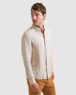 SABA Anderson Long Sleeve Classic Yarn Dyed Linen Shirt - Casual shirts (brown)
