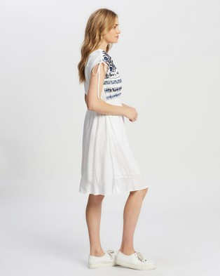 KAJA Clothing - Samara Dress - Dresses (White with Blue Embroidery) Samara Dress