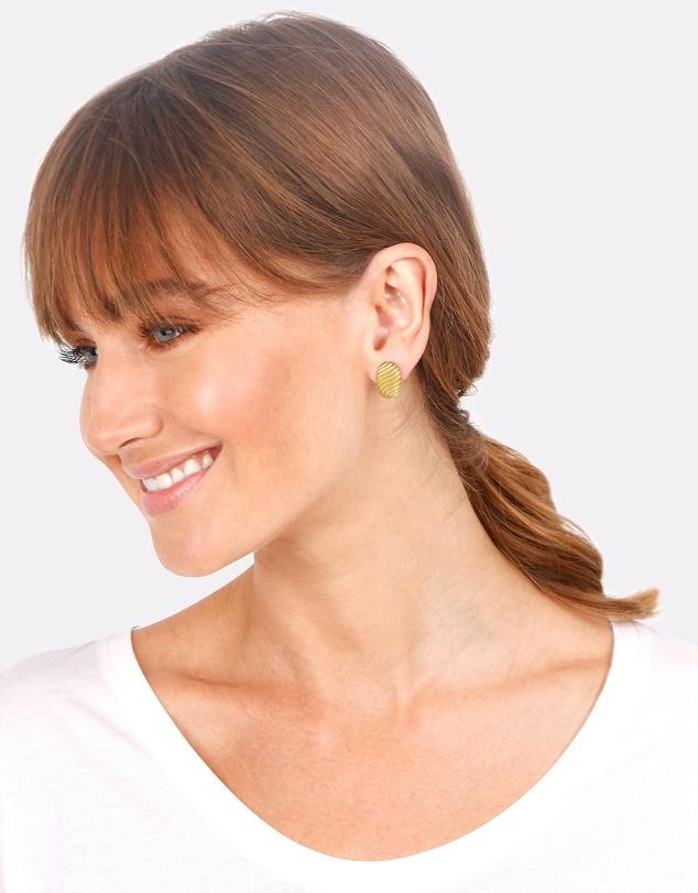 Women Earrings Plug Oval Geo Ripple Look in 925 Sterling Silver Gold Plated