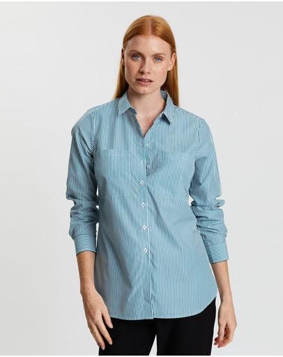 Sportscraft Blaire Stripe Shirt Whitegreen