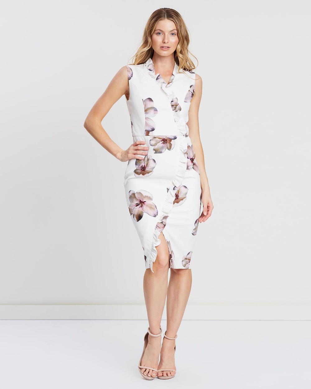 Pink Ruby Nude Print Mariah Cross-Over Dress