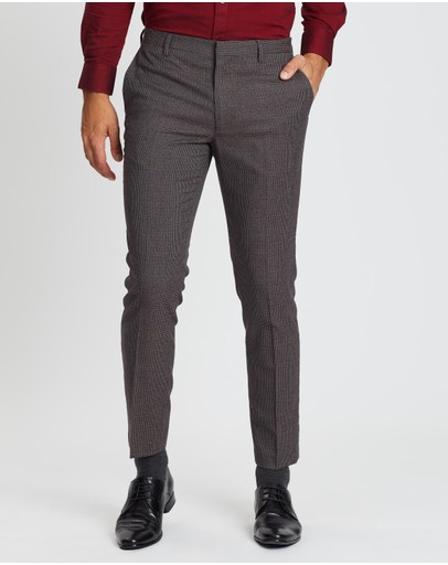 Burton Menswear - Skinny Flat Front Houndstooth Trousers