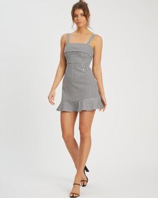 Calli Imogen Mini Dress - Printed Dresses (Black Houndstooth)